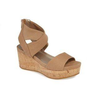 PELLE MODA Lilo Platform Wedge Sandal Latte Tan